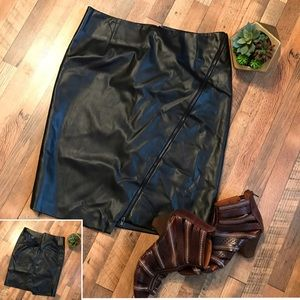 Faux Vegan Leather Lined Front ZIP Pencil Skirt